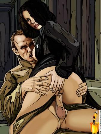 drawn Kate Beckinsale riding a cock
